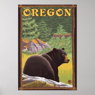 Black Bear in Forest Scene Vintage Travel Poster