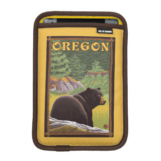 Black Bear in Forest Scene Vintage Travel Sleeve For iPad Mini