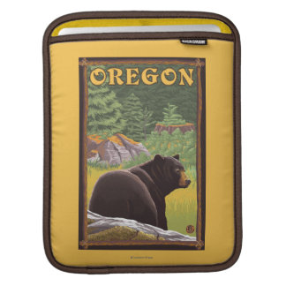 Black Bear in Forest Scene Vintage Travel Sleeve For iPads