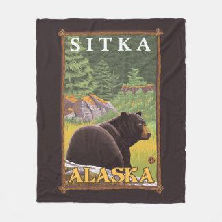 Black Bear in Forest - Sitka, Alaska Fleece Blanket