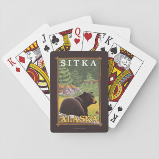 Black Bear in Forest - Sitka, Alaska Playing Cards