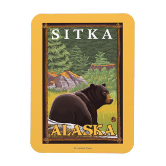 Black Bear in Forest - Sitka, Alaska Rectangular Photo Magnet