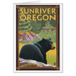 Black Bear in Forest - Sun River, Oregon Greeting Cards