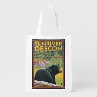 Black Bear in Forest - Sun River, Oregon Grocery Bag