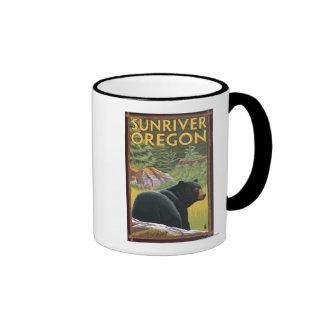 Black Bear in Forest - Sun River, Oregon Ringer Mug