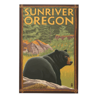 Black Bear in Forest - Sun River, Oregon Wood Wall Art