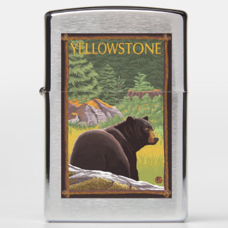 Black Bear in Forest - Yellowstone National Park Zippo Lighter