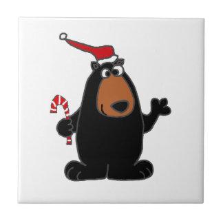 Black Bear in Santa Hat Christmas art Ceramic Tiles