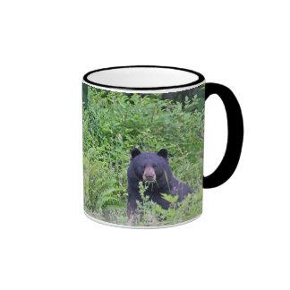 Black Bear in the Woods Ringer Coffee Mug