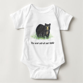 Black Bear in white flowers, baby clothes Baby Bodysuit
