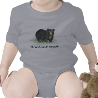 Black Bear in white flowers, baby clothes Bodysuit