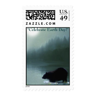 BLACK BEAR & MOON - EARTH DAY Postage stamps