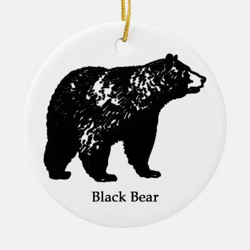 Black Bear Double-Sided Ceramic Round Christmas Ornament