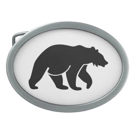 Black Bear Oval Belt Buckle