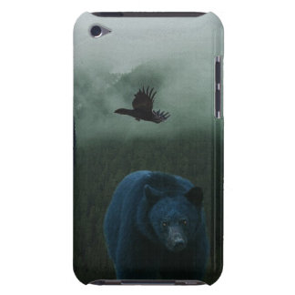 Black Bear & Raven & Misty Mountain Wildlife Theme Barely There iPod Cover