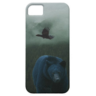 Black Bear & Raven & Misty Mountain Wildlife Theme iPhone SE/5/5s Case
