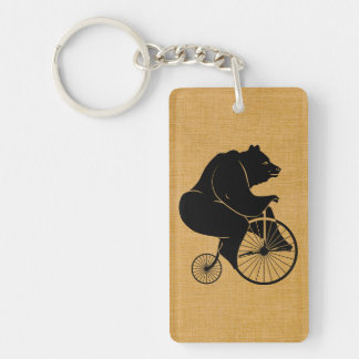Black Bear Riding Vintage Bicycle Double-Sided Rectangular Acrylic Keychain