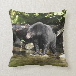 Black Bear Salmon Fishing Wildlife-lover's Design Throw Pillow