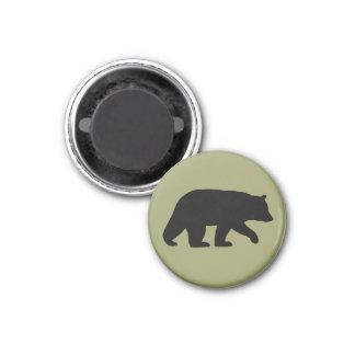 Black Bear Silhouette 1 Inch Round Magnet