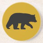 Black Bear Silhouette - Custom Background Color Drink Coaster