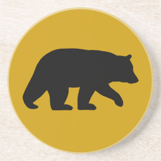 Black Bear Silhouette - Custom Background Color Coaster