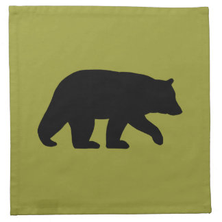 Black Bear Silhouette - Customizable Color Cloth Napkin