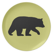 Black Bear Silhouette - Customizable Color Dinner Plate