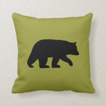 Black Bear Silhouette - Customizable Color Throw Pillow