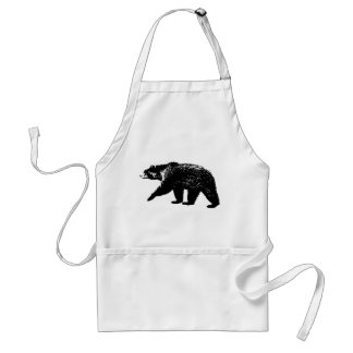 Black Bear Silhouette, Digital Graphic Adult Apron