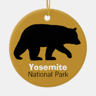Black Bear Silhouette Double-Sided Ceramic Round Christmas Ornament