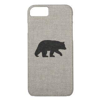 Black Bear Silhouette Faux Linen Burlap Style iPhone 7 Case