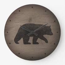 Black Bear Silhouette Large Clock