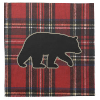 Black Bear Silhouette on Red Plaid Cloth Napkin