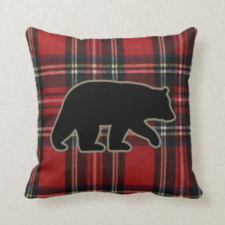 Black Bear Silhouette on Red Plaid Pillows