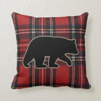 Black Bear Silhouette on Red Plaid Throw Pillow