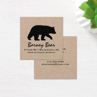 Black Bear Silhouette Square Business Card