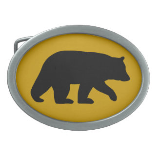 Black Bear Silhouette with Custom Background Color Oval Belt Buckle