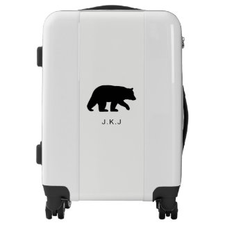 Black Bear Silhouette with Custom Text Luggage