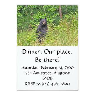 Black Bear Standing Up 5x7 Paper Invitation Card