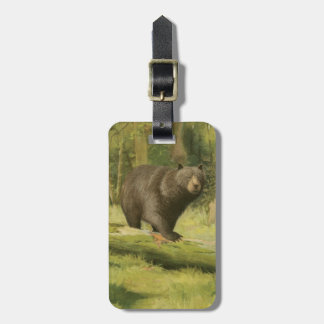 Black Bear Stepping on a Tree Trunk Luggage Tag