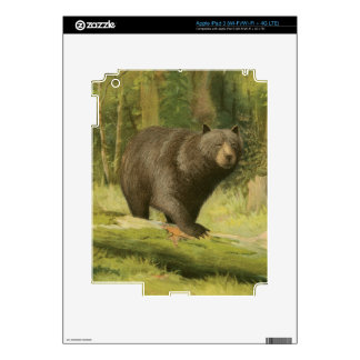 Black Bear Stepping on a Tree Trunk Skins For iPad 3