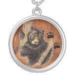 Black Bear & Tracks - Animal  - Nature Pendant