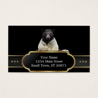 Black bear wearing polar bear costume business card