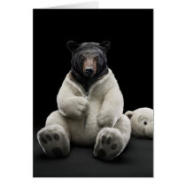 Black bear wearing polar bear costume card