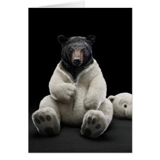 Black bear wearing polar bear costume card