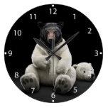 Black bear wearing polar bear costume large clock