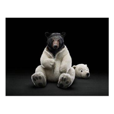 jurassic_world Black bear wearing polar bear costume postcard