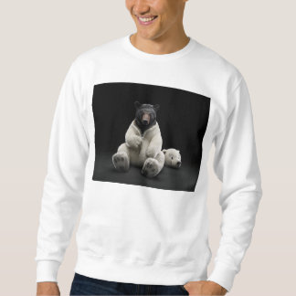 Black bear wearing polar bear costume sweatshirt