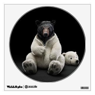 Black bear wearing polar bear costume wall decal