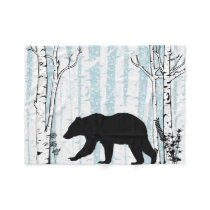 Black Bear With Birch Blue Sky Fleece Blanket